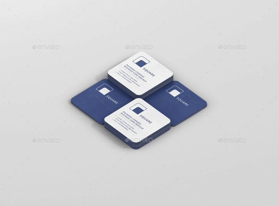 Business Card Mockup Bundle Stack Round Corners Business Card