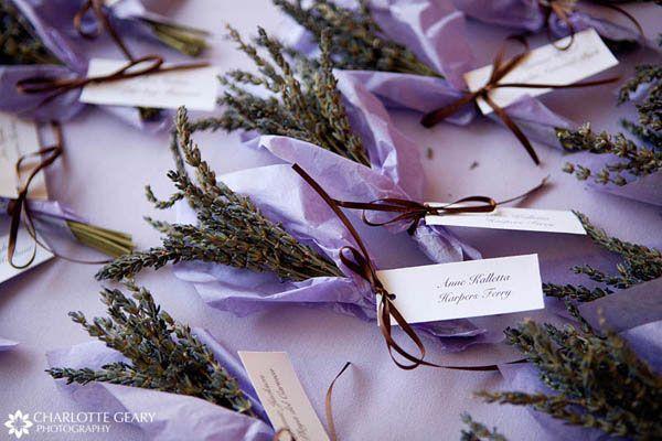 Purple wedding ideas. Place cards tied around dried lavender