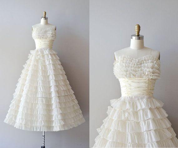 1950s wedding dress / vintage 50s dress / Layer Cake dress