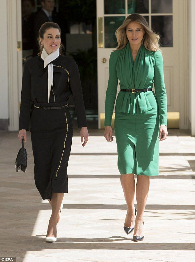 b18c2e9c893 Style stars: While Queen Rania opted to wear black and white, Melania  donned emerald green