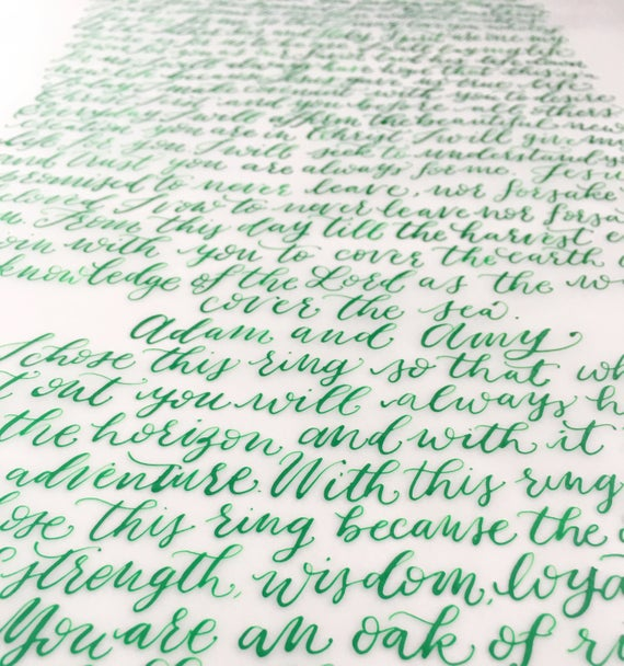 Wedding Vows On Vellum 11x14 Vows Calligraphy Vows Wedding Gift Anniversary Gift Vows Wedding Vows Anniversary Gifts