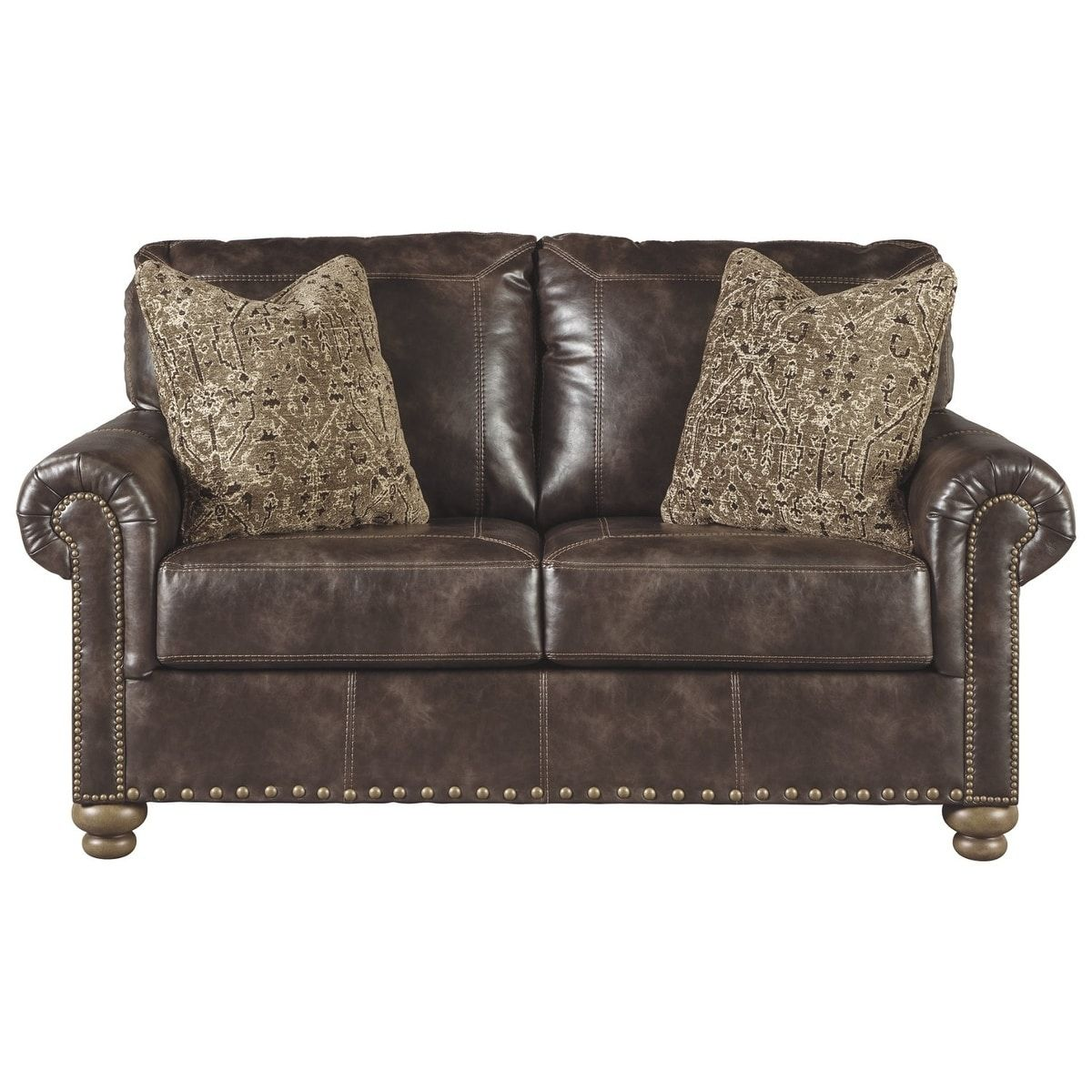 Fine Nicorvo Coffee Faux Leather Loveseat Brown Signature Short Links Chair Design For Home Short Linksinfo