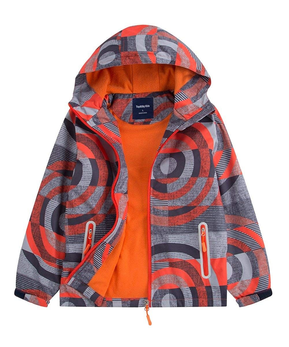 Boys Hooded Full Zip Windproof Fleece Lined Active Jacket Orange Ci18dh5tsnm Size 4t Boy Outerwear Colorful Jacket Kids Outdoor Clothes [ 1201 x 1001 Pixel ]