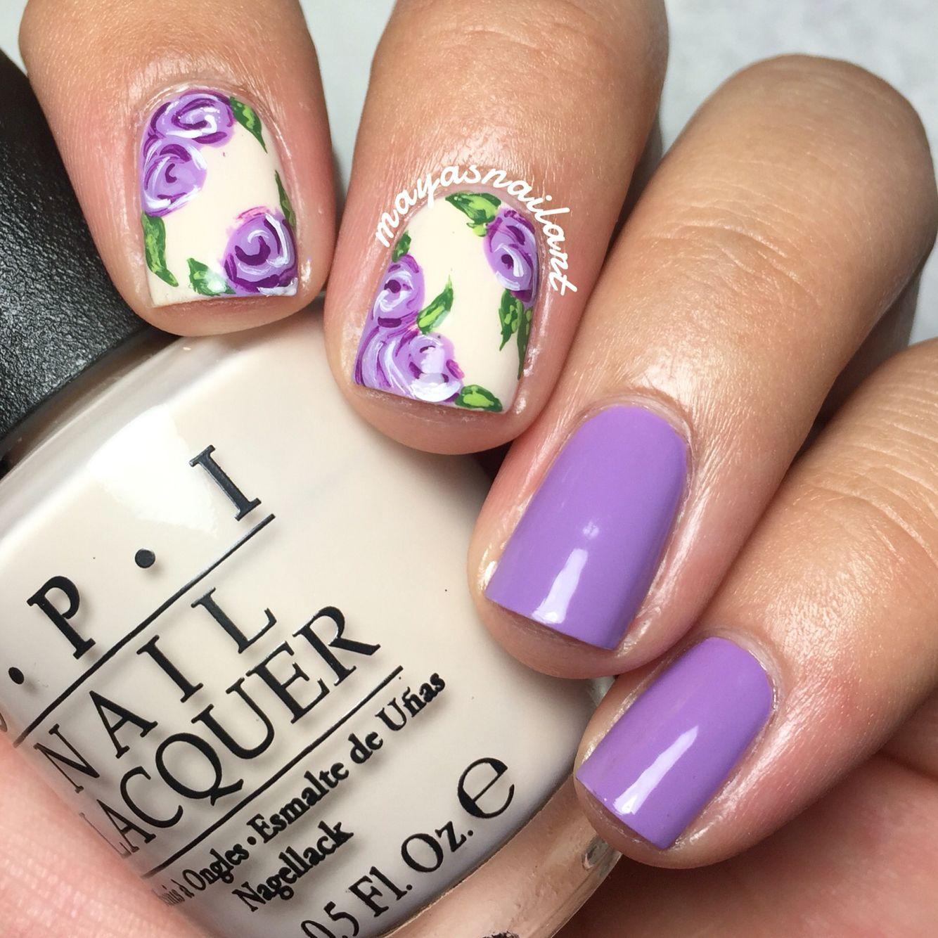 Rose nail art Lavender nail art | My Nail Art | Pinterest | Lavender ...