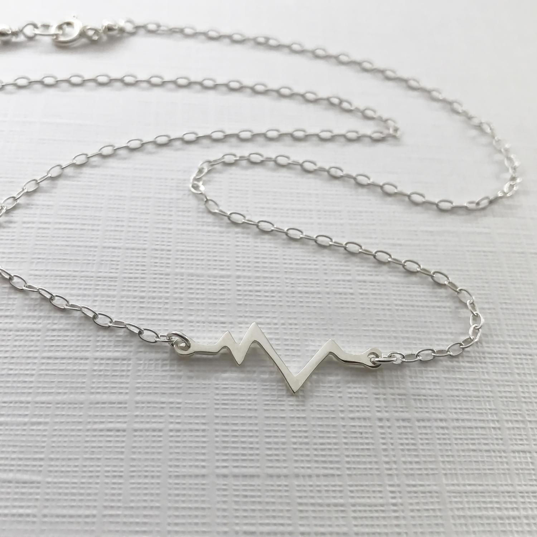 New Mum Bracelet Custom EKG Bracelet Nurse Gift Jewellery Personalised Heartbeat Initial Silver Heart Bracelet Heart Beat Bracelet