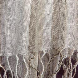 Alexander Del Rossa Striped Linen Scarf