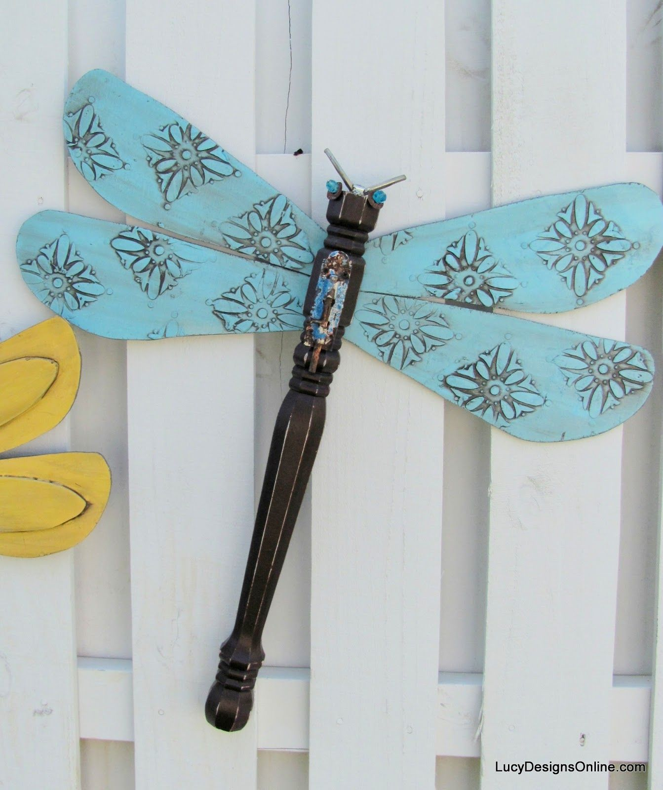 blue textured wing table leg dragonfly Made with fan blades and a ...