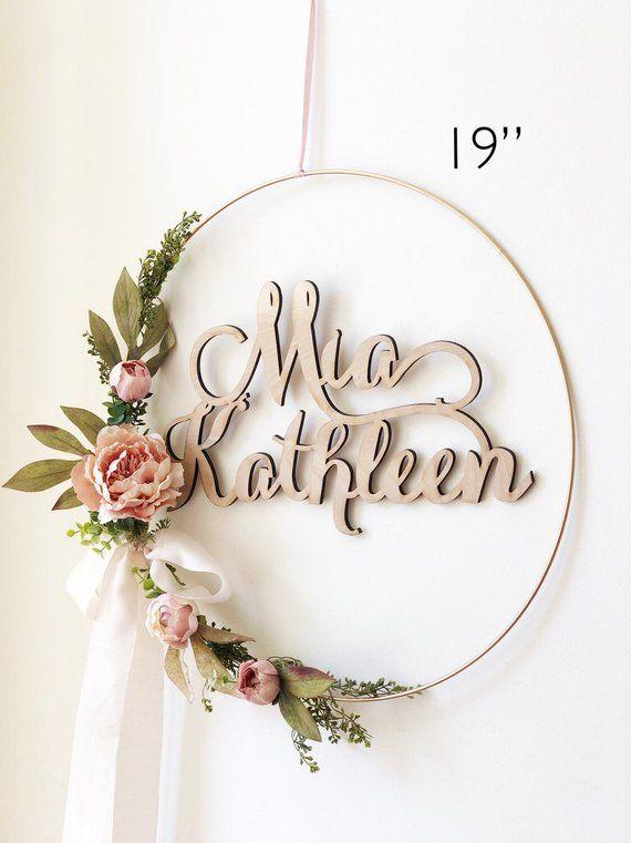 wreath shower farmhouse nursery floral wreaths blush etsy signs flowers