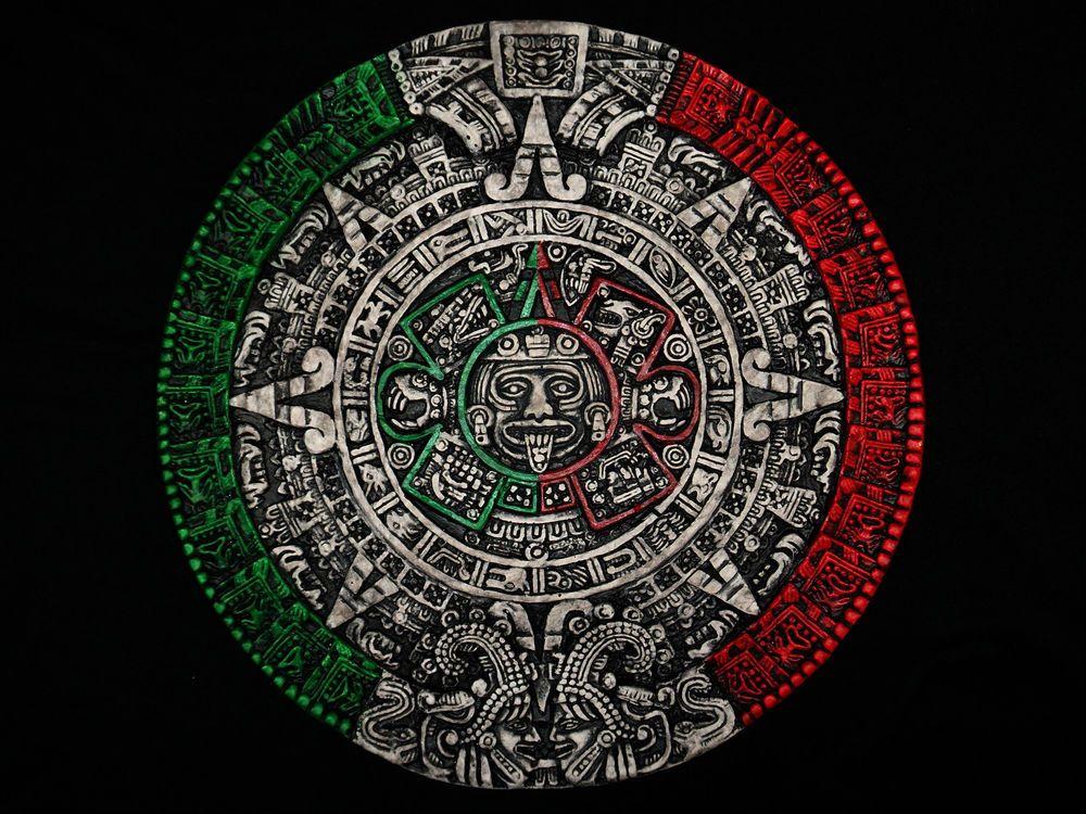 Aztec Calendar Sculpture Sol Calendario Azteca Mexico Lowrider Art ...