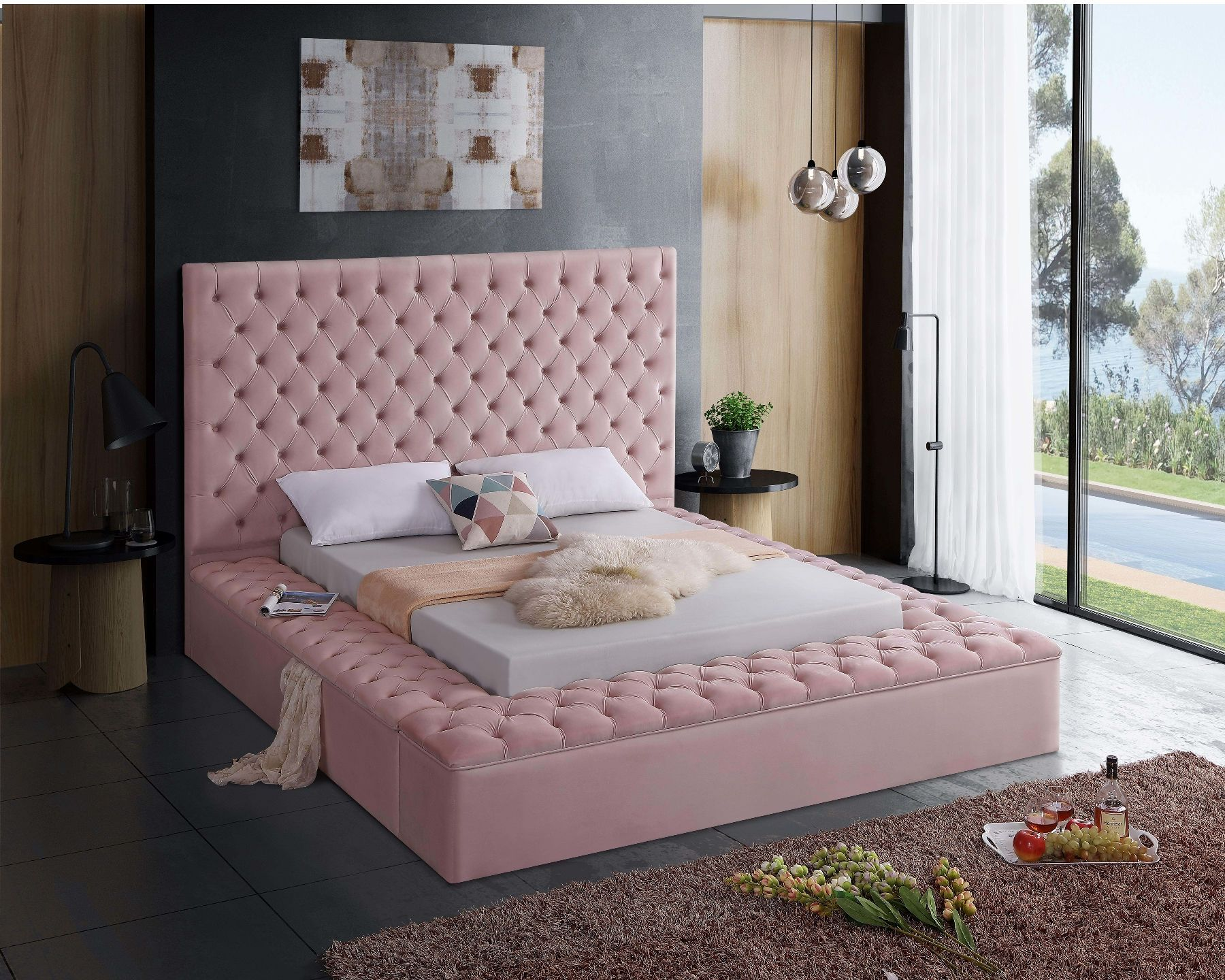 Bliss Pink King Size Bed In 2020 Velvet Bed Upholstered Platform Bed Bed