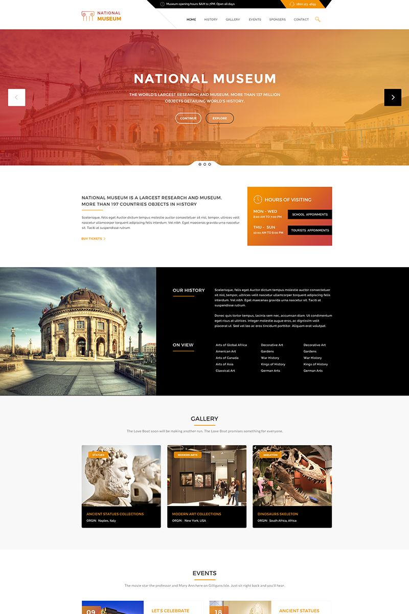 Museum History Art Gallery WordPress Theme Big Screenshot - Art gallery website templates