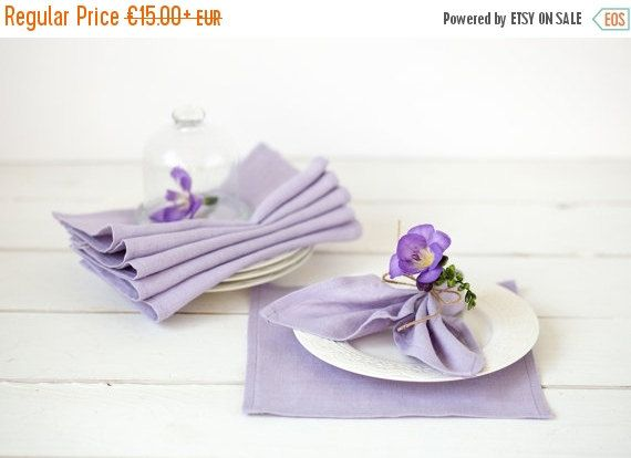 Lavender Linen Napkins Set Of 6 Purple Napkin Cloths Easter Lilac Wedding