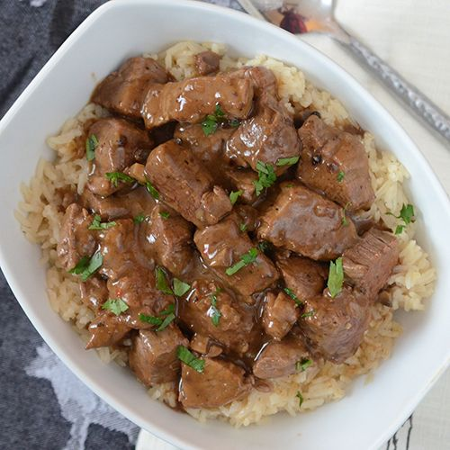 Fire Seared Beef Tenderloin Tips with Rice