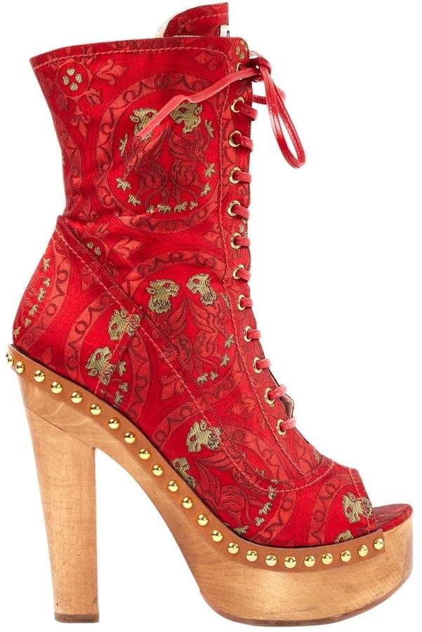 a02ac358d6 Miu Miu Red Cloth Boots in 2019 | Products | Boots, Patent leather ...