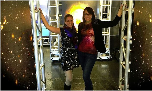 Emily Rice and Summer Ash celebrating the 25th anniversary of the Hubble Space Telescope. The pair run a blog called STARtorialist, about the use of astronomical data in fashion.