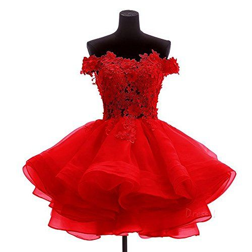 Nicefashion Teens Vintage Lace Applique Aline Cascading Ruffles Mini Cocktail Dance Prom Dress 2016 Red US6 >>> Click image for more details.