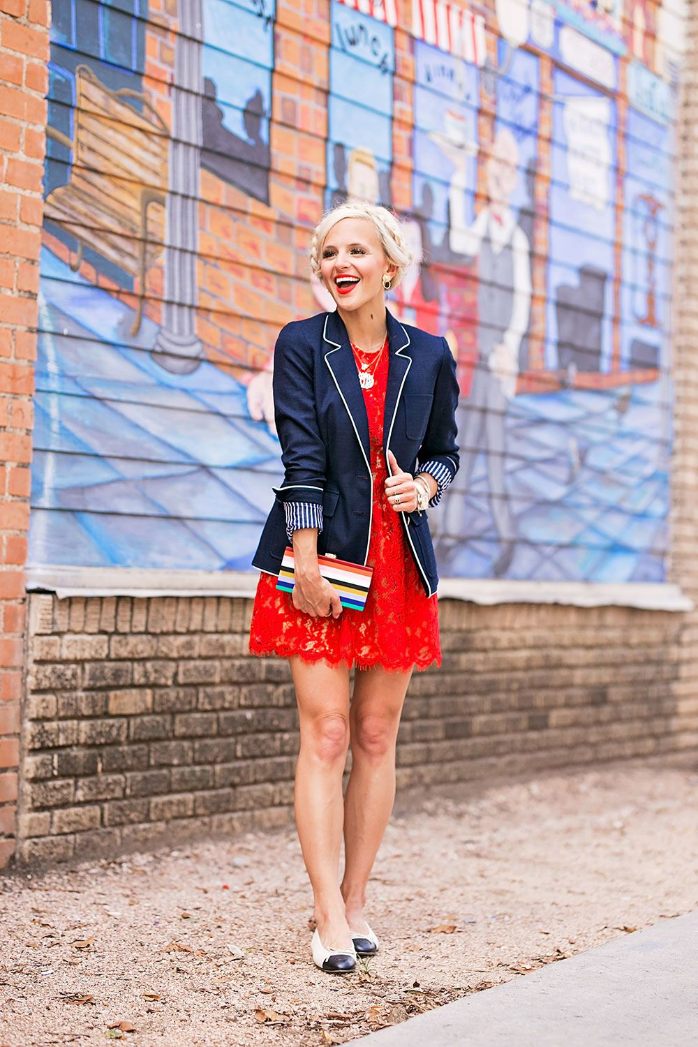 dcf28661e1b8 navy blazer + red dress outfit.