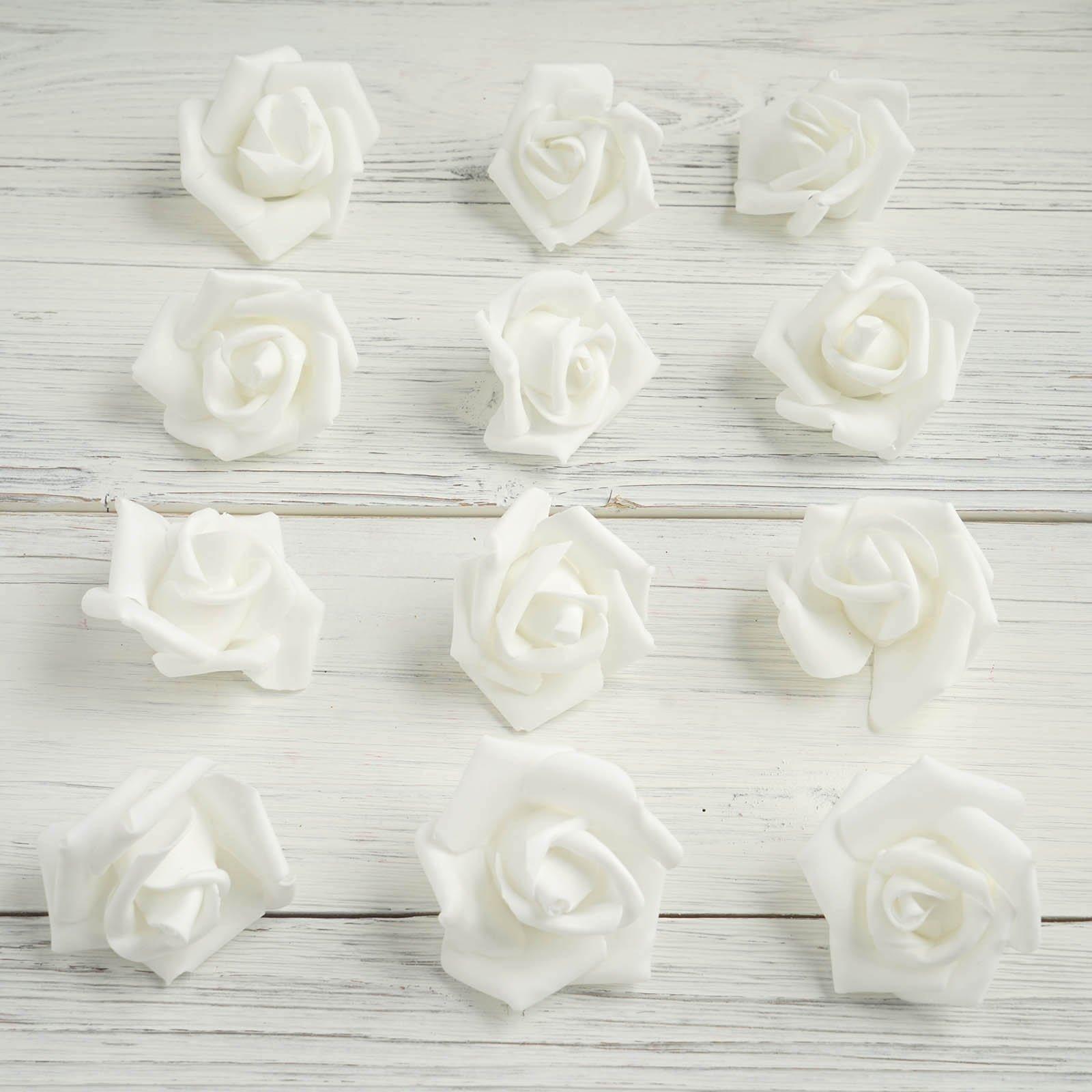 12 Pcs 2 White Real Touch 3d Artificial Diy Foam Rose Flower Head Foam Roses Faux Flowers Flower Arrangements