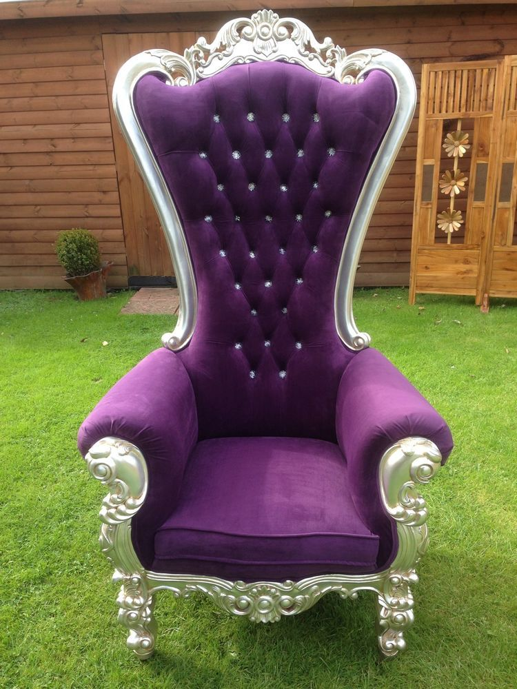 Beautiful french style Silver Leaf & Purple Throne Chair