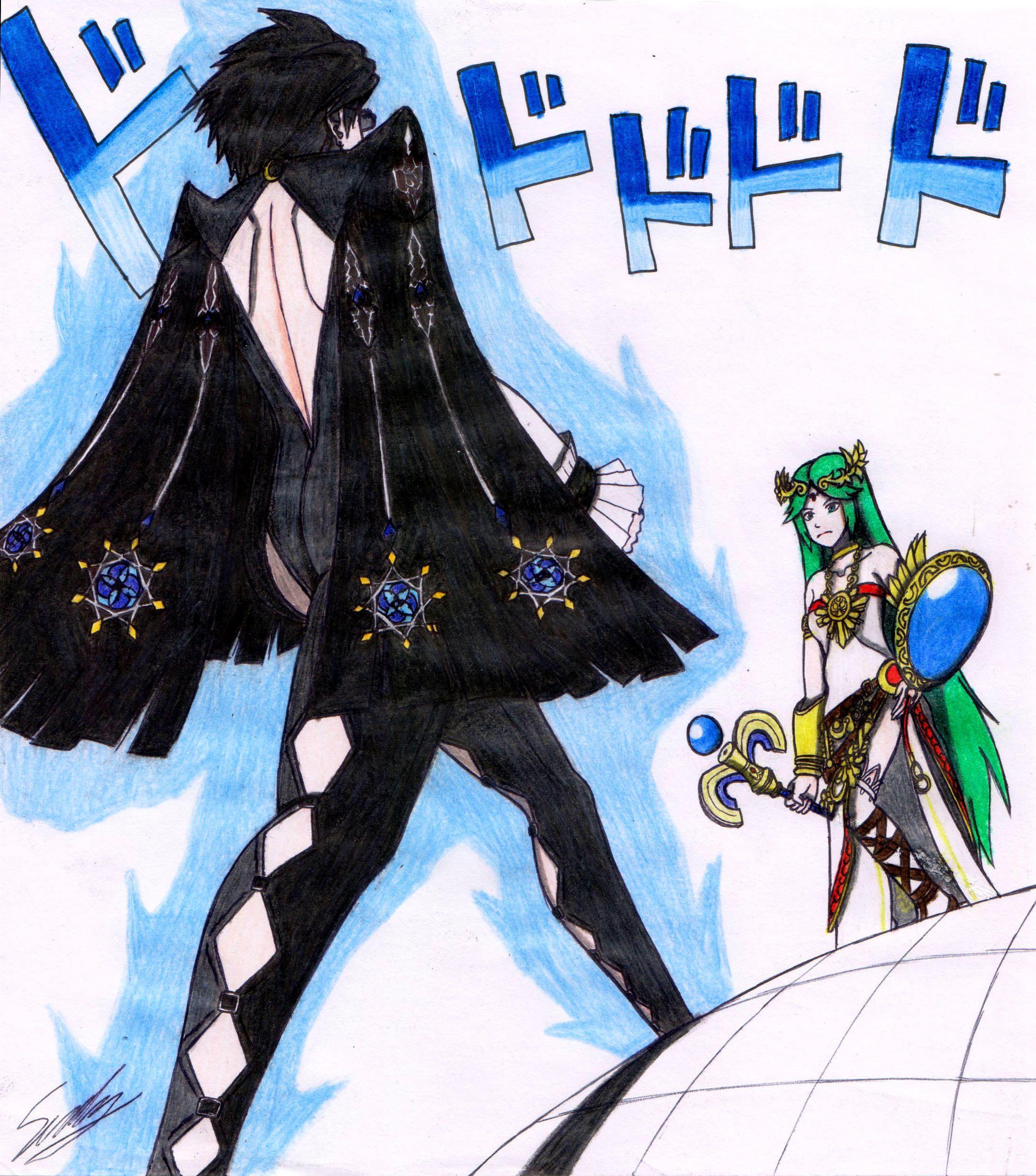Bayonetta And Palutena Walking Super Smash Bros Nintendo Super