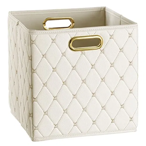 Creative Scents Cube Storage Bin Faux Leather Decorative Basket With Handles For Shelf Foldable Storage Cube Organizer Bin For Closet Clothes Blanket Magazin In 2020 Cube Storage Bins Storage Bins Cube Storage