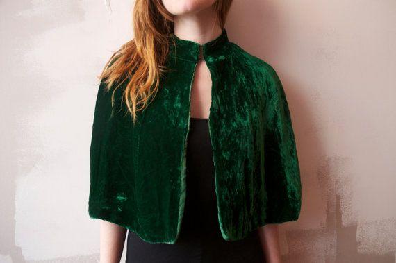 Emerald green crushed velvet cape