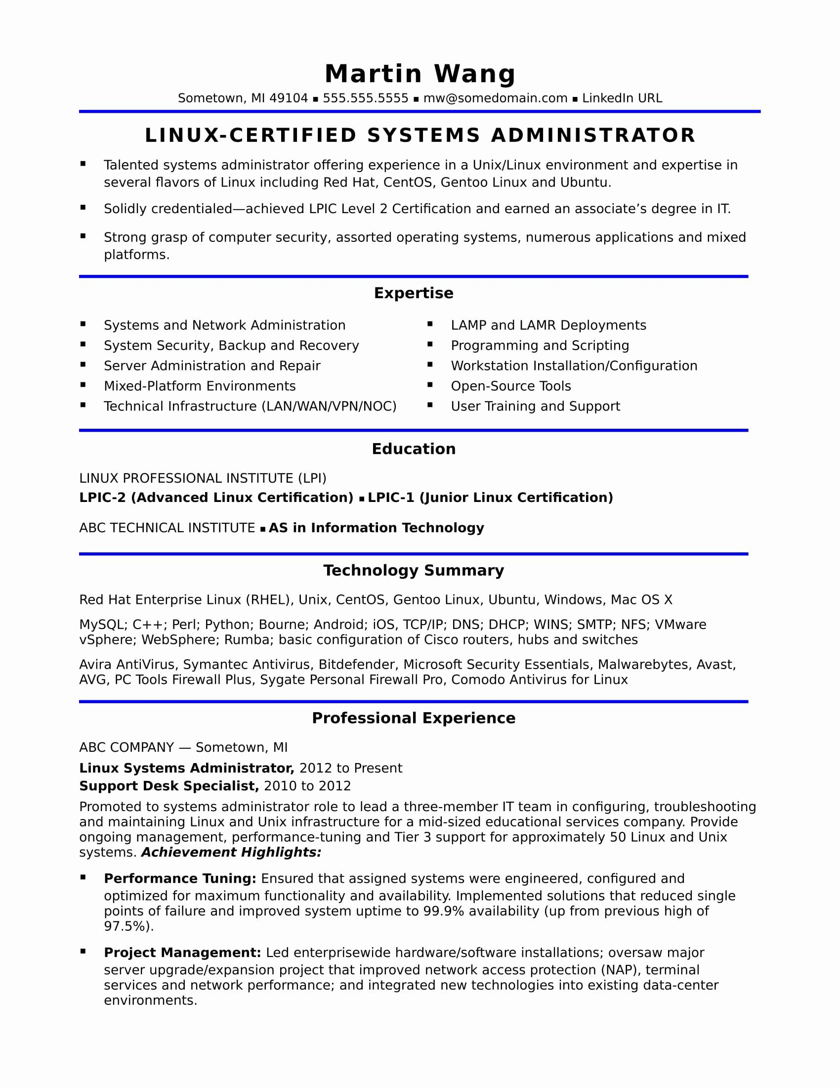 25 System Administrator Resume Template in 2020 System