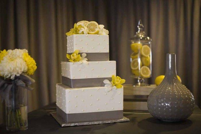 gray and yellow wedding decor, lemon centerpieces, a good affair ...