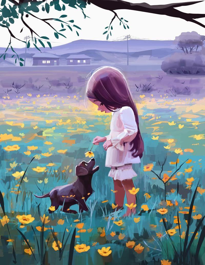 Wallpaper Day Girl Dog Flowers Pet Cute For Hd 4k Wallpaperday For Desktop Mobile Phones Free Download Dreamy Art Illustration Art Animation Art