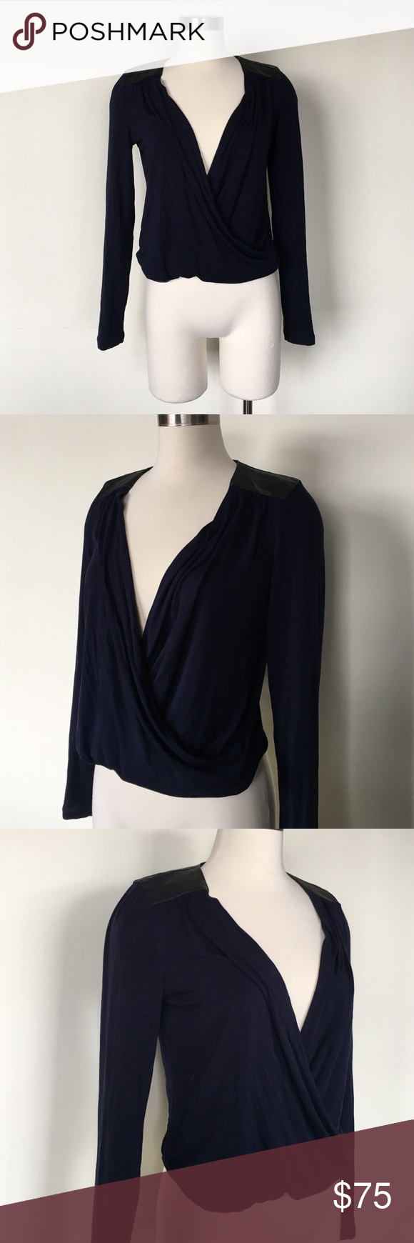 Nordstrom Surplice Wrap Leather Detail Blouse Top Navy with black leather accents. EUC no pilling. Size XS. Gathered bottom for better fit Nordstrom Tops