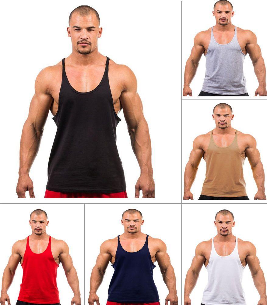 LOT MENS BODYBUILDING GYM STRINGER VEST Y BACK RACER BACK TANK TOP MUSCLE VEST