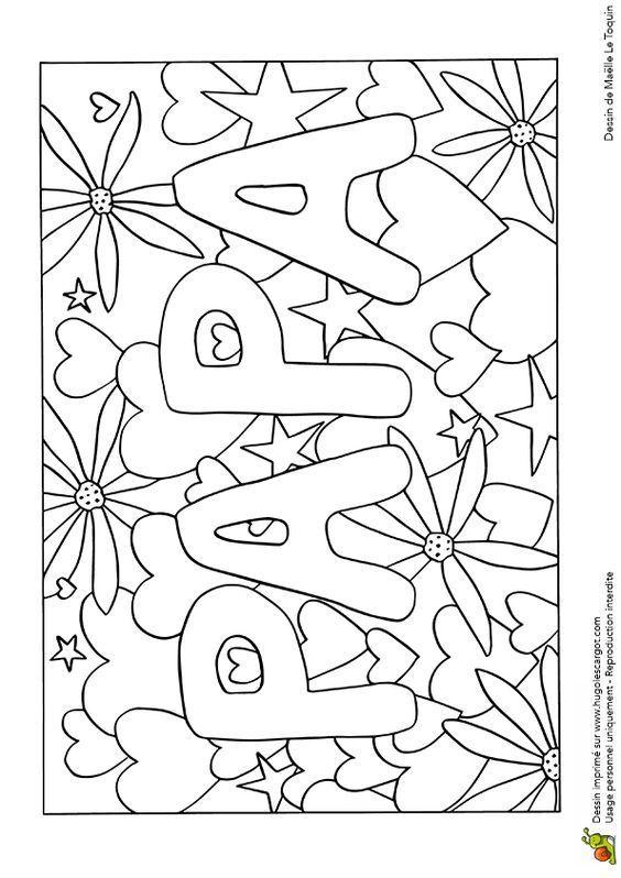 Une jolie carte avec des cœurs pour papa, dessin à colorier | fête ...