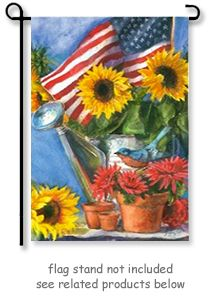 Patriotic Sunflower Garden Flag By Artist Geoff Allen For EVERGREENu0027S SUEDE  REFLECTION Collection. The Potted Plant Design Appears The Same On Both  Sides Of ...