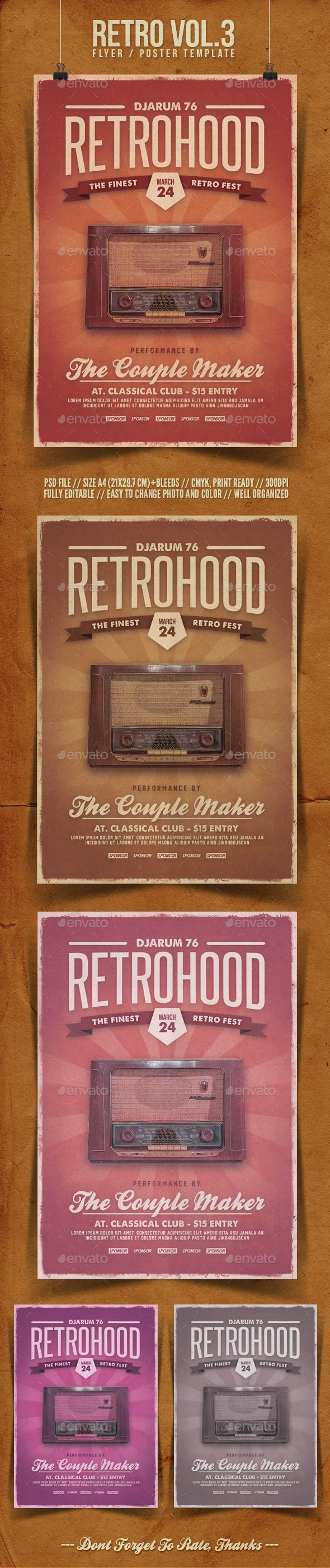Retro Flyer Template Vol  Flyer Template Template And Retro