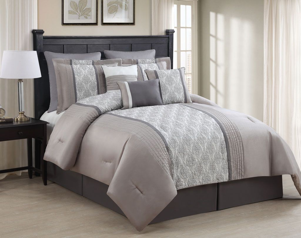 9 Piece Queen Augustine Taupe/Gray/Ivory Comforter Set