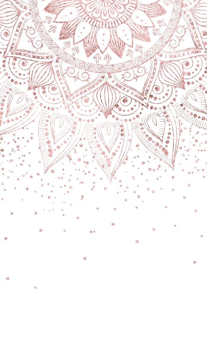 Elegant Rose Gold Mandala Confetti Design Window Curtains Rose Gold Wallpaper Gold Wallpaper Background Mandala Wallpaper