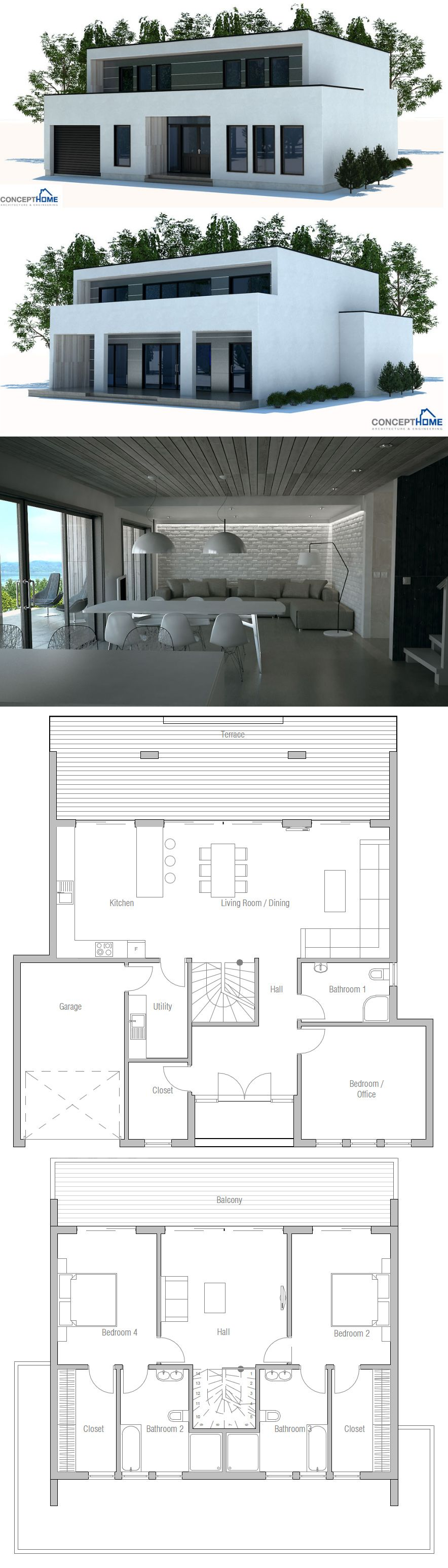 Modern Minimalist House Plan Plans De Maison Ev Planları