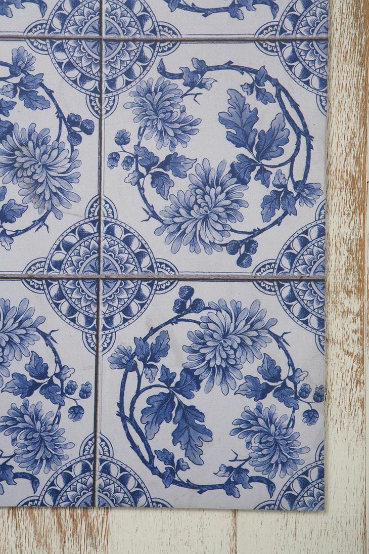 L formte küche design ideen trompe luoeil floor mat  delft wreath blue  fliesen