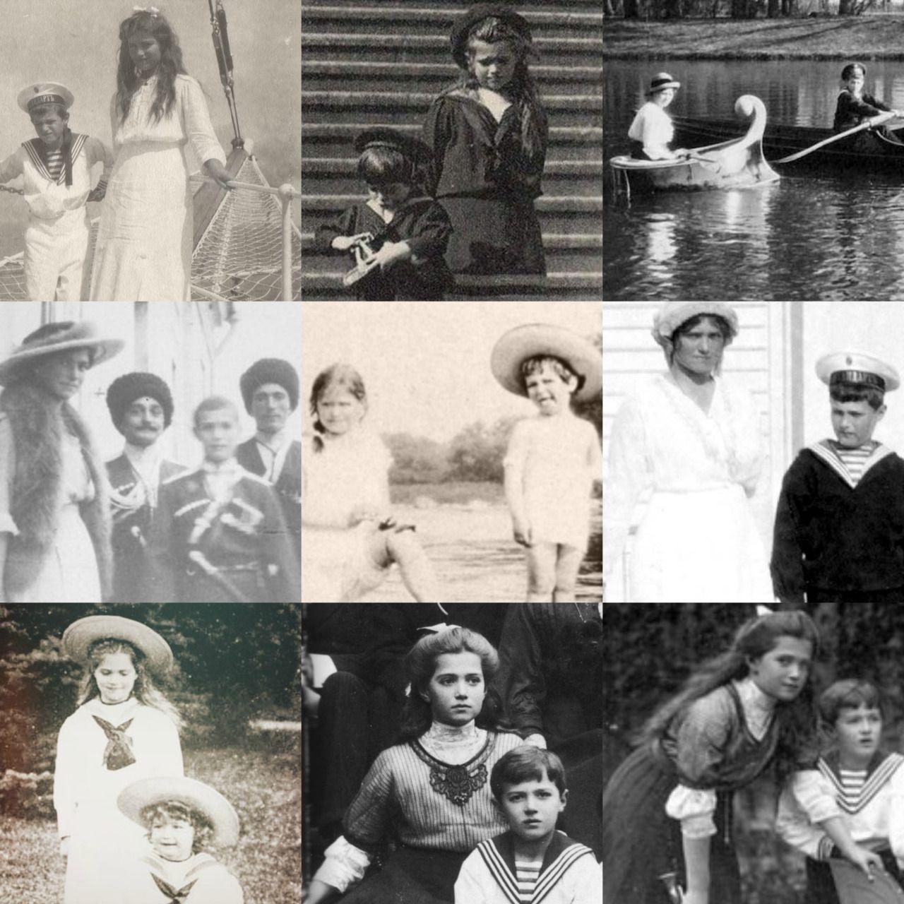 Grand Duchess Maria Nikolaevna (1899-1918) with her little brother Tsarevich Alexei Nikolaevich (1904-1918)