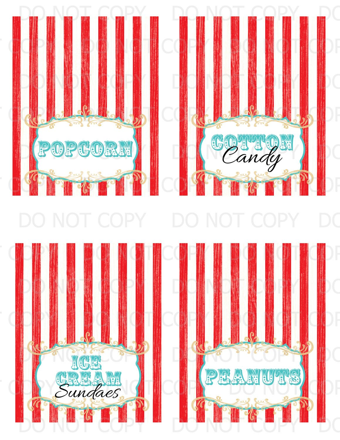 Printable Diy Vintage Circus Table Tent Food Labels Set