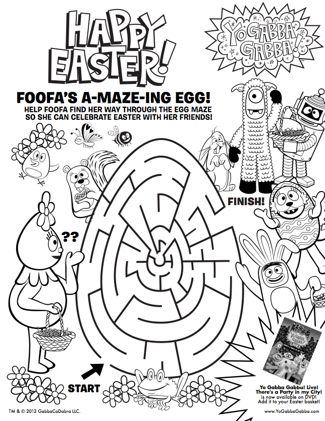 Easter is coming print this free yogabbagabba coloring sheet for print this free yogabbagabba coloring sheet for your easter baskets thecheapjerseys Choice Image