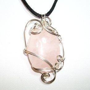 Wire Sculpted Rose Quartz Pendant by Judy's Beaded Beauties