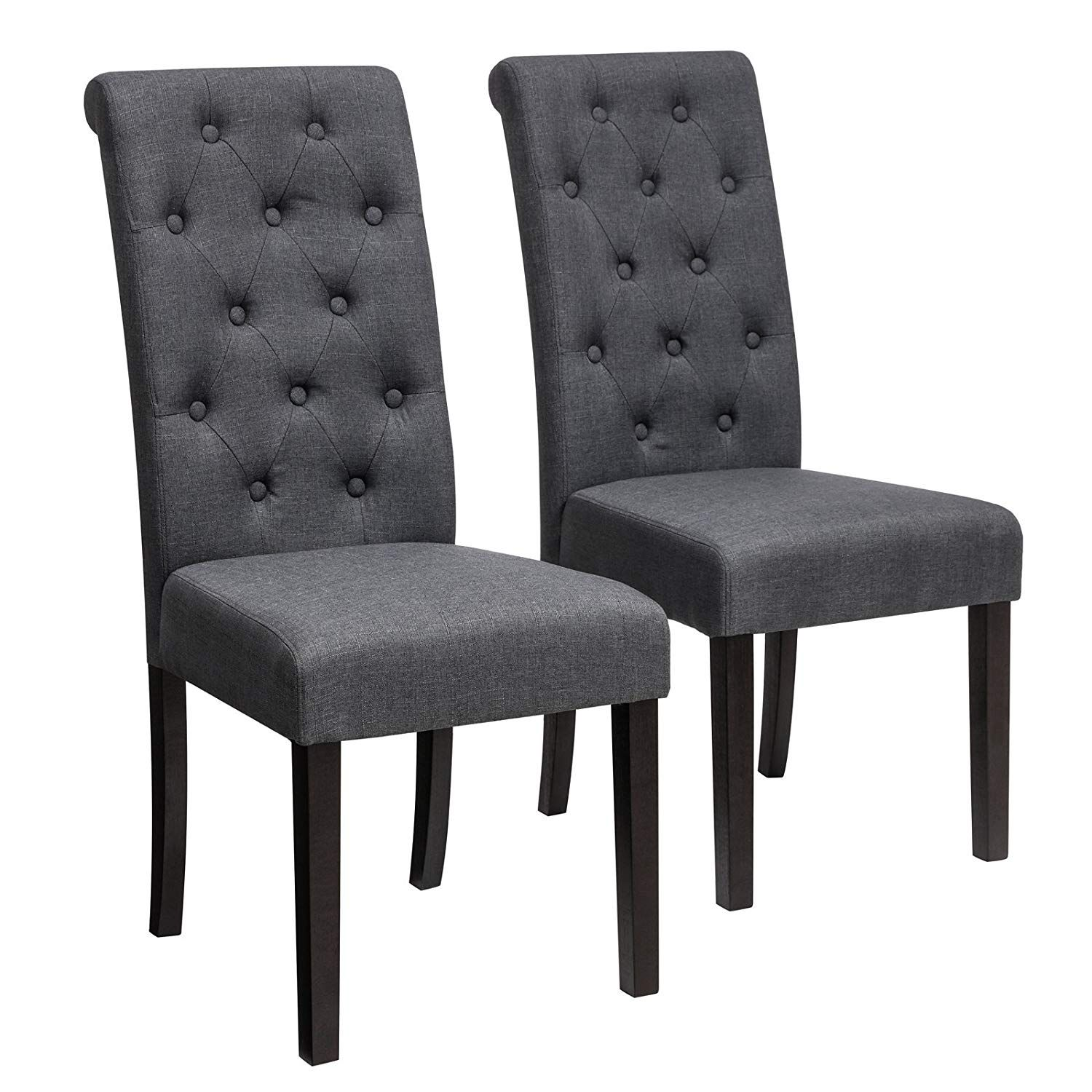 Songmics Fabric Upholstered Dining Chair Set Of 2 Button Tufted Parson Chair Solid Wood Legs Seat Height 18 5 Dining Chairs Upholstered Dining Chairs Chair Parsons chairs set of 2