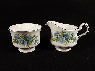 Queen Anne Blue Daisies Cream Sugar Bone China England Gold Trim Porcelain