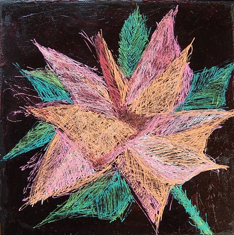 The Wild Flower. 6 inch by 6 inch plywood tile.