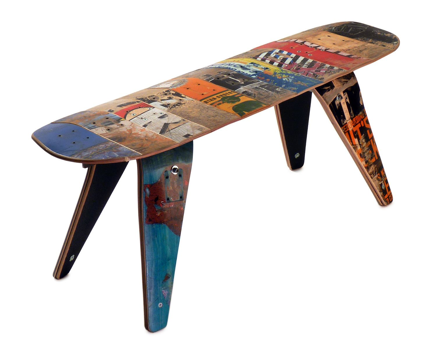 Skateboard Bench Short Skateboard Bench Reclaimed Skate Deck Furniture Handmade Uncommongoods Skateboard Furniture Eco Friendly House Skateboard