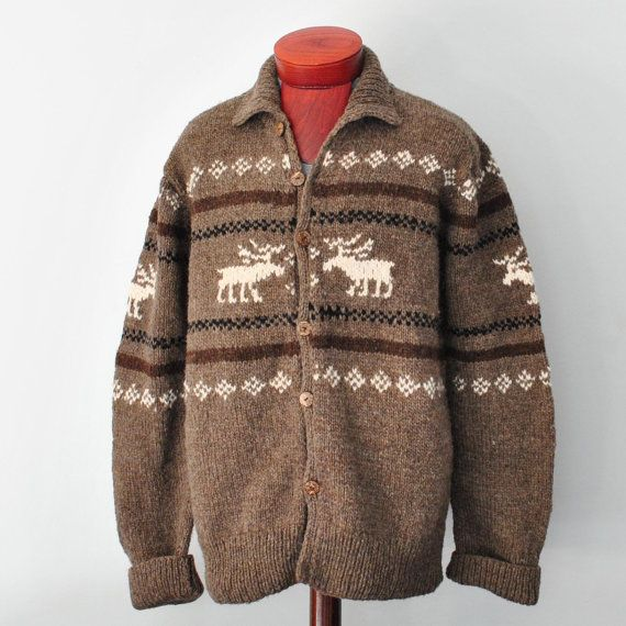 Men S Cowichan Moose Sweater Santa Clause Style Christmas Sweater Wool Cardigan Hand