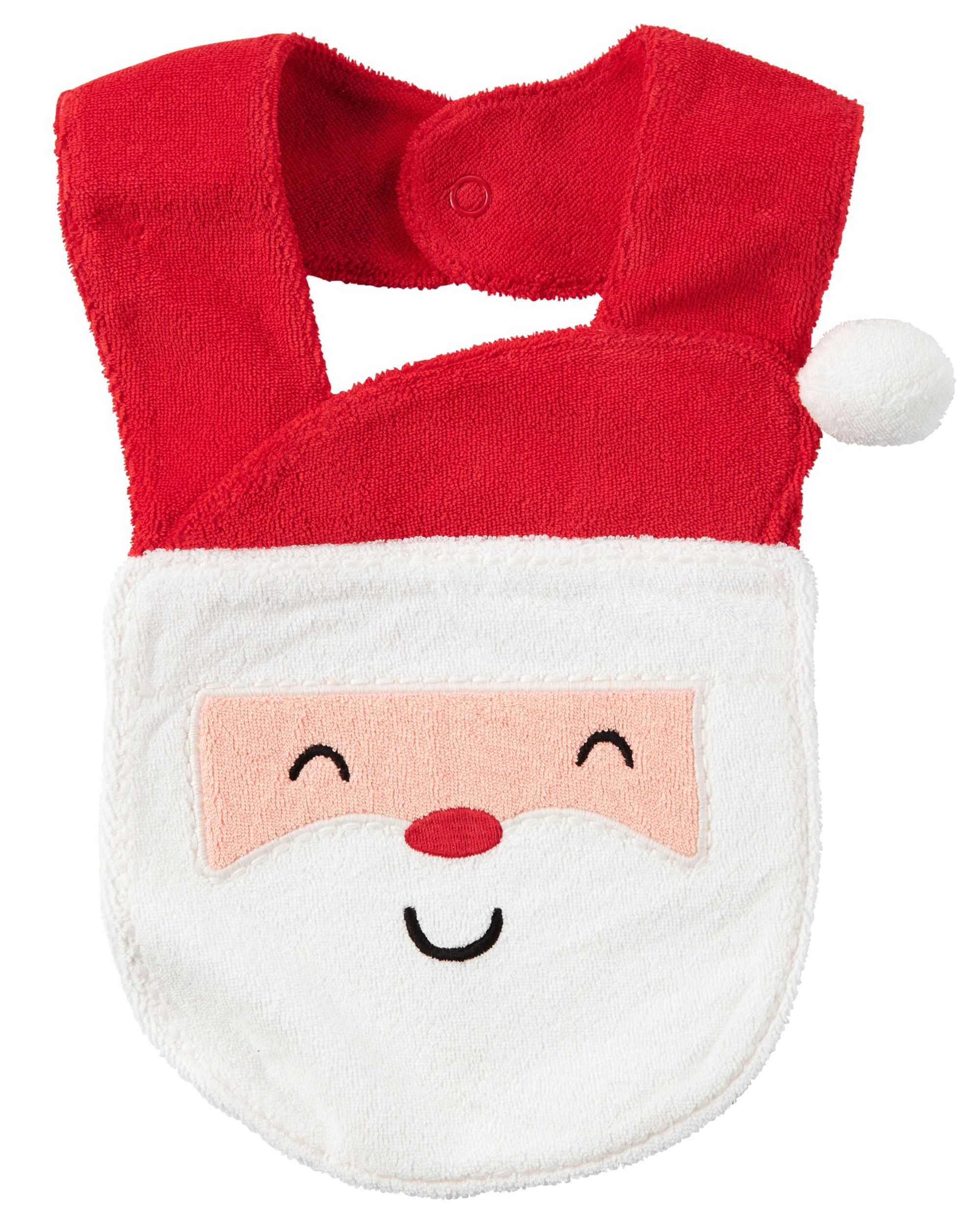1ee64796f Keeping feeding time playful, this absorbent French terry bib features an  easy snap closure and a festive Santa design.
