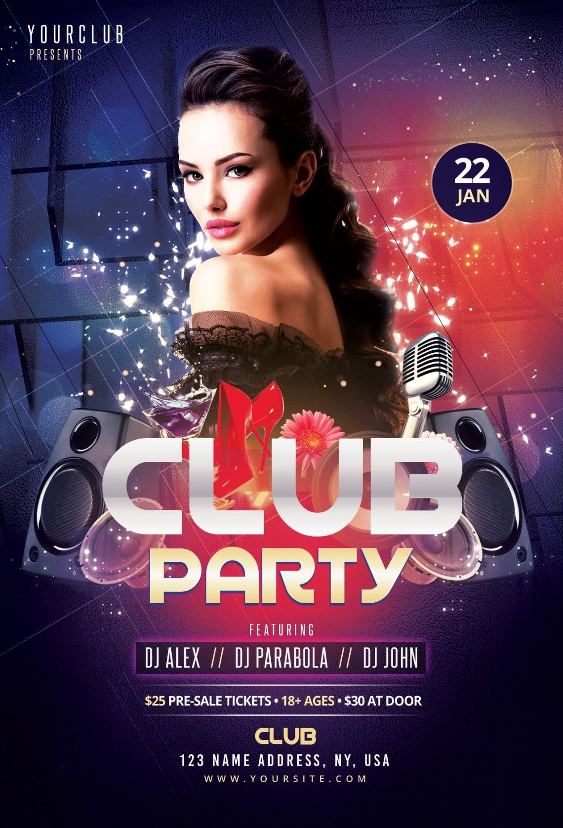 Club Party – Free Flyer Template | Photoshop flyer ...