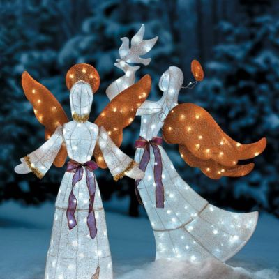 LED Twinkling Tinsel Angel Outdoor Christmas Decorations - outdoor angel christmas decorations